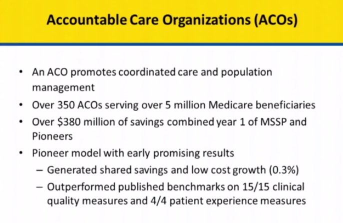 Accountable Care Organization Update