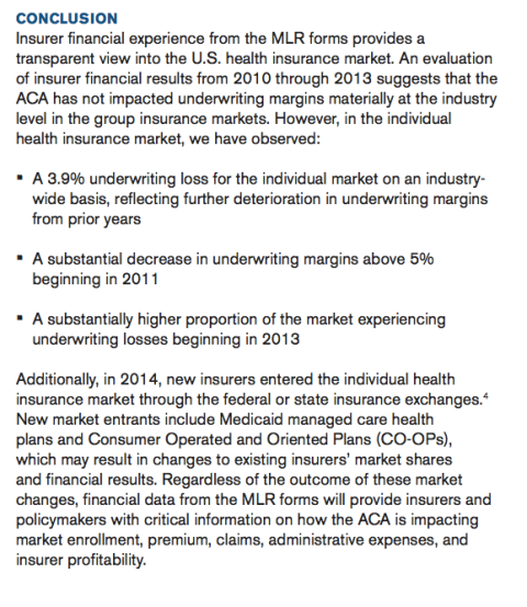 Milliman  Health Breifing Paper on ACA Results 2010 - 2013