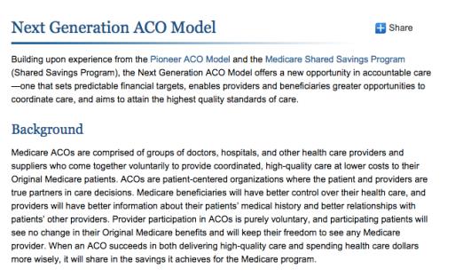 ACO Next Generation Model