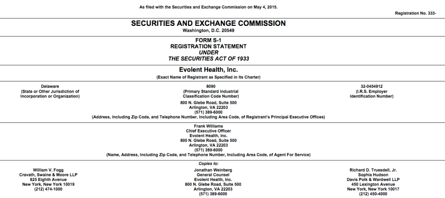 Evolent Health S1 Filing