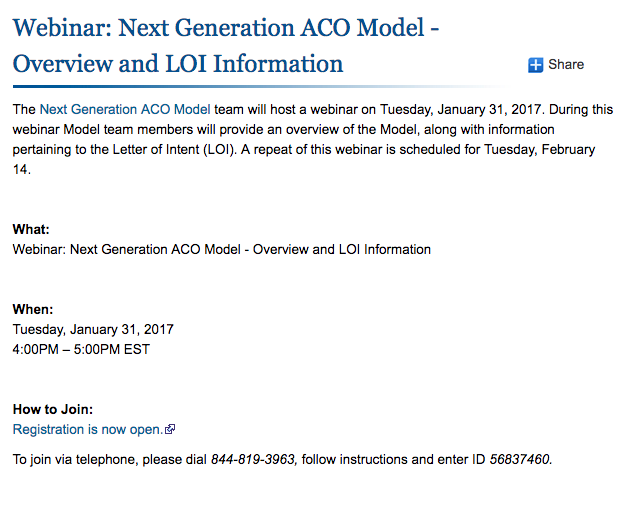 Webinar: Next Generation ACO Model - Overview and LOI Information Select link to open options forShare